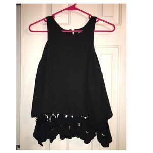 Black boutique top with lace bottom